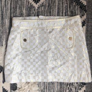 Lilly Pulitzer gold metallic mini skirt